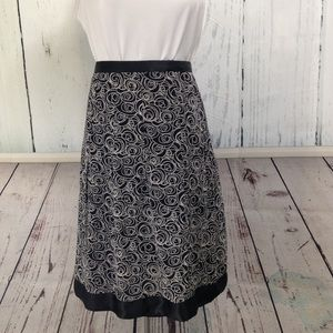 Black & Cream Silk Skirt